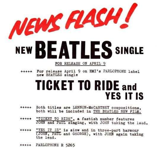 Coverafbeelding Ticket To Ride - Beatles